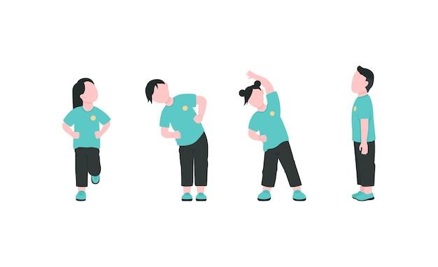 Kindergarten children exercising flat color faceless characters set