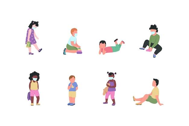 Kindergarten children flat color vector faceless characters set
