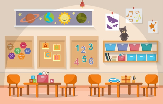 Kindergarten classroom interior children kids school toys furniture