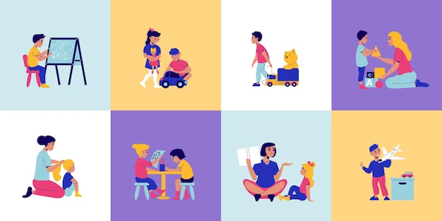 Концепция дизайна детского сада с набором квадратных композиций с детскими персонажами, играющими с игрушками, и иллюстрацией няни