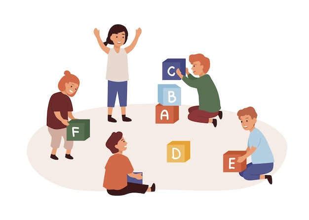 Kindergarten flat vector illustration. children sitting on floor and playing cubes with letters isolated on white background. educational game for preschoolers. kids education and development.