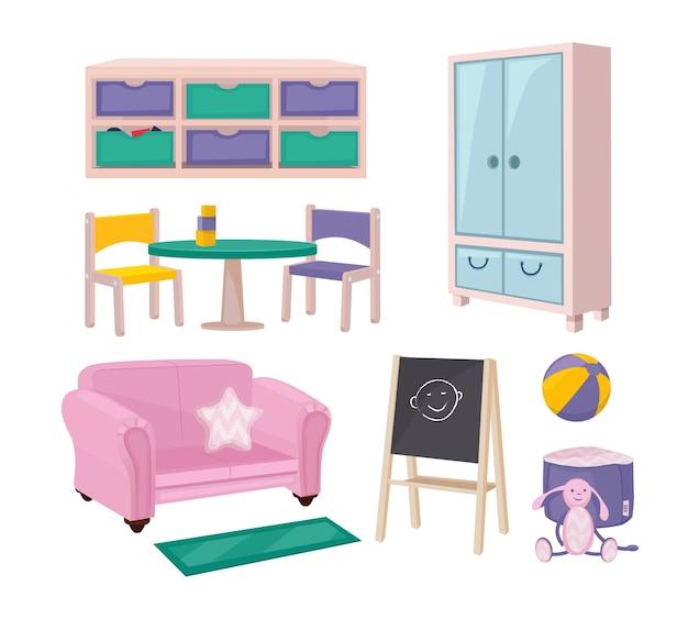 유치원 가구. 놀이방 항목 장난감 의자 보드 책상과 구슬 어린이 교육 유치원 개체 만화 세트.