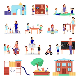 Kindergarten icons set with parents and children symbols flat