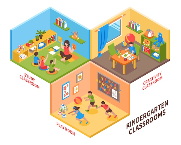 Kindergarten indoor isometric illustration