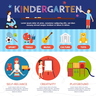 Kindergarten infographic set with sport and culture symbols flat vector illustration