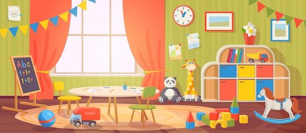 Детский сад интерьер. детский сад с мебелью и детскими игрушками. детская комната дошкольного возраста для игр, деятельности и обучения, векторных мультфильмов. доска и стол со стульями для детей