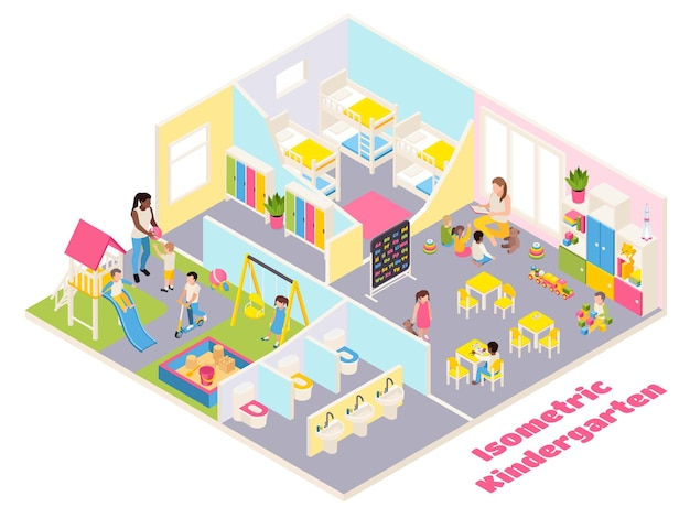 Kindergarten isometric composition with text and indoor view of different rooms with furniture toys and kids