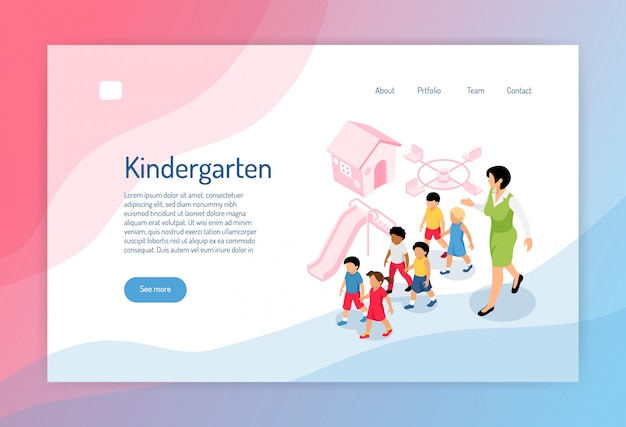 Kindergarten isometric web page with group of preschoolers educator and objects of play ground