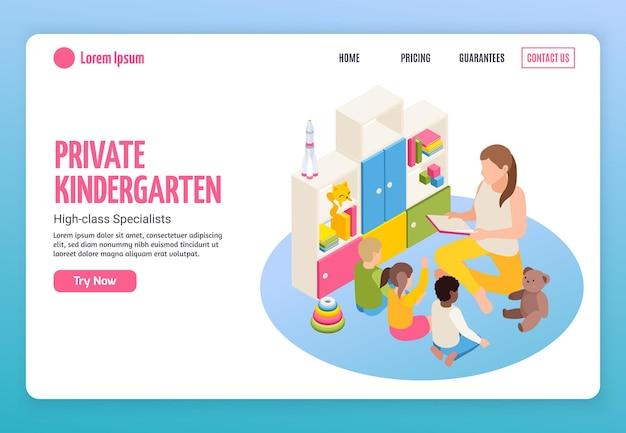 Modello di pagina di destinazione del sito web isometrico dell'asilo con link cliccabili, testo modificabile e pulsanti con immagini