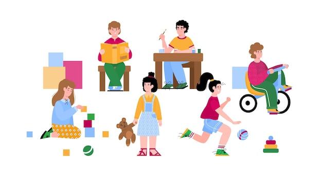 Kindergarten kids busy with game activity cartoon illustration