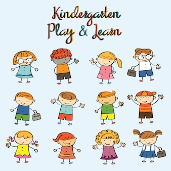 Kindergarten, kids characters drawing style set