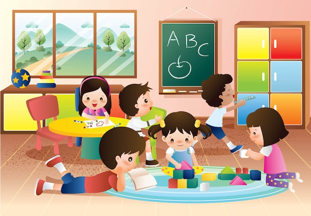 Kindergarten kids playing and learning in the class