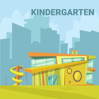 Kindergarten modern building background in a city with a slide for children cartoon vector illustrat