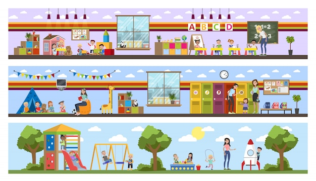 Kindergarten or nursery building interior with children. preschool kids play with toys and study in classroom.   illustration