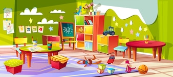 Kindergarten or kid room interior illustration. Empty cartoon background with child toys