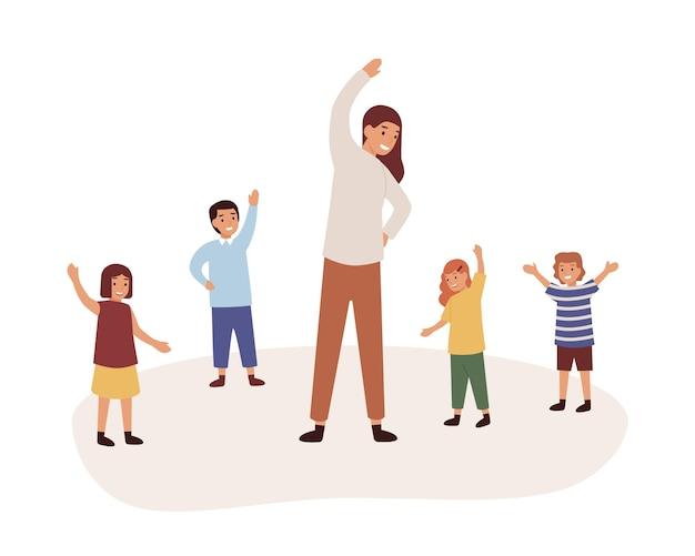 유치원 신체 활동 수업 평면 벡터 일러스트 레이 션. 여성 베이비 시터와 어린이 만화 캐릭터. 흰색 배경에 격리된 운동을 하는 유치원 교사.