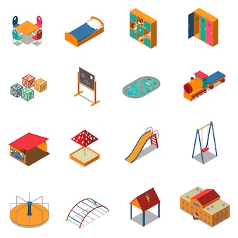 Kindergarten play ground isometric icons