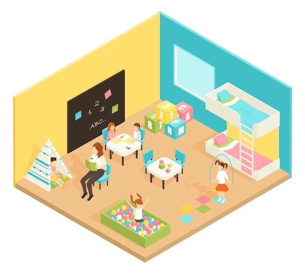 Kindergarten play room isometric design concept