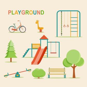 Детский сад детская площадка с качелями слайд веревка игрушка жираф