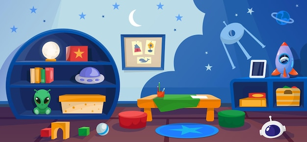 Kindergarten playroom with games toys in cosmos style