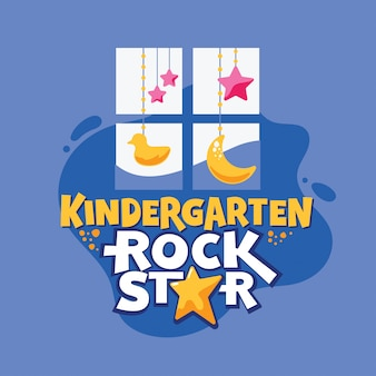Kindergarten rock star phrase, window with duck and stars, back to school illustration