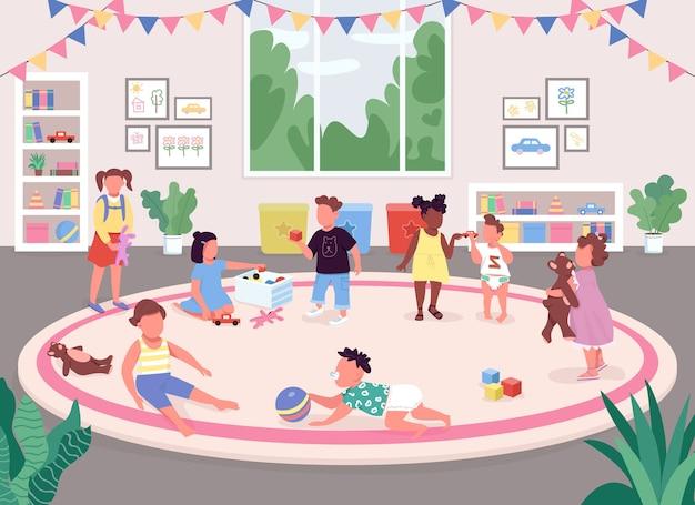 幼稚園のフラットカラー。子供たちは、おもちゃ、本棚、ピンクのカーペット、背景に大きな窓があるレクリエーションルームの2d漫画の顔のないキャラクターで遊ぶ