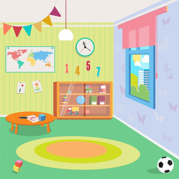 Kindergarten room interior with toys