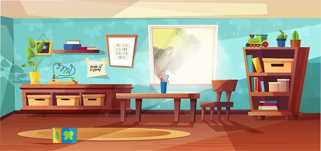 Kindergarten room modern   illustration with furniture, sunlight from window and toys for kids. nursery for kids, little children.  flat style design. preschool.