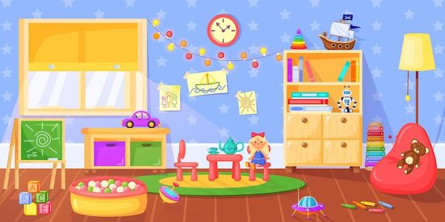 幼稚園の部屋おもちゃの本棚の黒板の家具が付いている就学前の子供の遊び部屋の内部