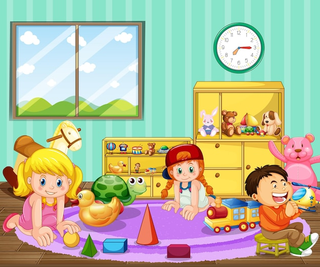 Kindergarten room scene with many kids playing with their toys