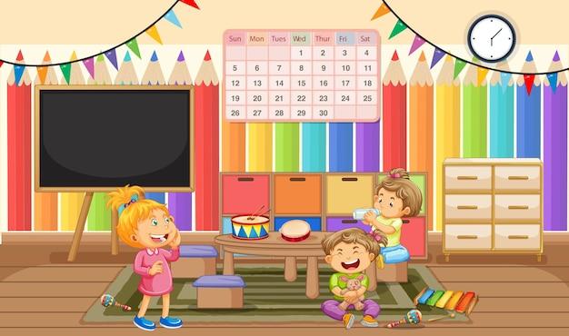 Kindergarten room scene with many little kids