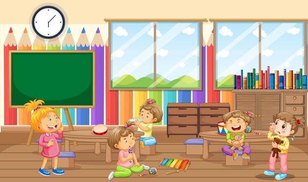 Сцена в комнате детского сада с множеством маленьких детей