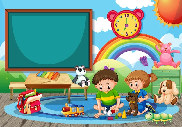 Scena della scuola materna con due bambini che giocano con i giocattoli nella stanza
