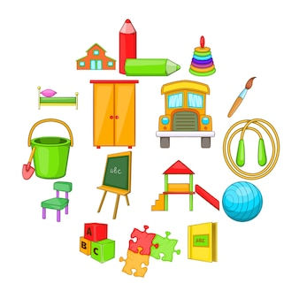 Kindergarten security icons set, cartoon style