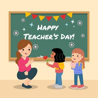 学校のバックパックを持った幼稚園の生徒たちは、世界の教師の日に対する感謝として、女教師にプレゼントを贈ります。クラスルームのチョークボードが飾られています。スタイルの背景