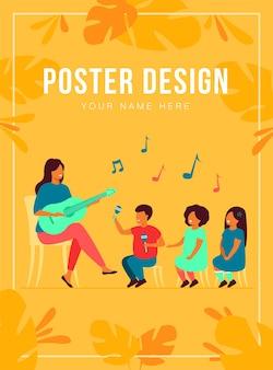 어린이 포스터 템플릿의 다양한 그룹을 위해 기타를 연주하는 유치원 교사