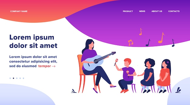 幼稚園の先生が子供たちの多様なグループのためにギターを弾きます。音楽のレッスンを楽しんでいる幼児。デイケア活動、子供の頃のコンセプトの平らなベクトルイラスト