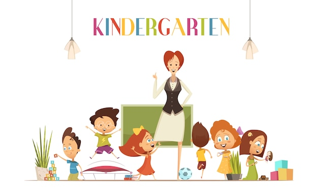 Kindergarten teacher in positive classroom environment coordinates children activities for effective