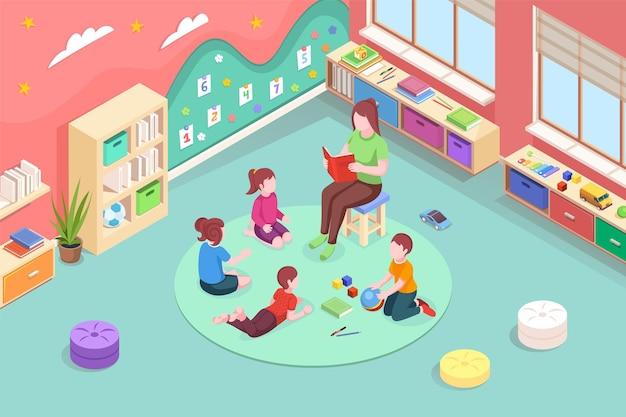 Воспитатель детского сада читает книгу детям изометрии