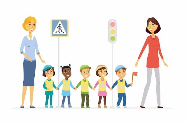 Воспитатель детского сада показывает правила дорожного движения - персонажи мультфильмов люди изолировали иллюстрацию на белом фоне. две молодые улыбающиеся женщины, стоя с детьми. изображение светофора и знака перекрестка