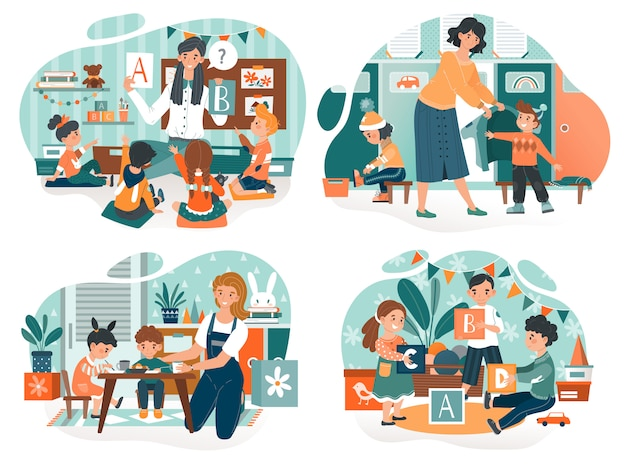 Kindergarten teacher with children, babysitter with kids, people vector illustration