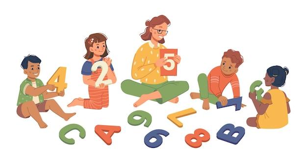 수업을 공부하는 아이들과 유치원 교사