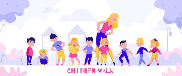 Kindergarten walking composition with text and flat characters of children with nursery teacher in outdoor scenery