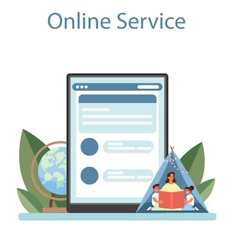 유치원 온라인 서비스 또는 플랫폼. 전문 유모와 아이들. 탁아소, 유치원 교육. 벡터 평면 그림