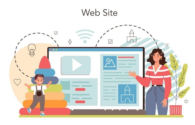 Kindergartener online service or platform. professional nany teaching children. day care center, preschool education. website. vector illustration