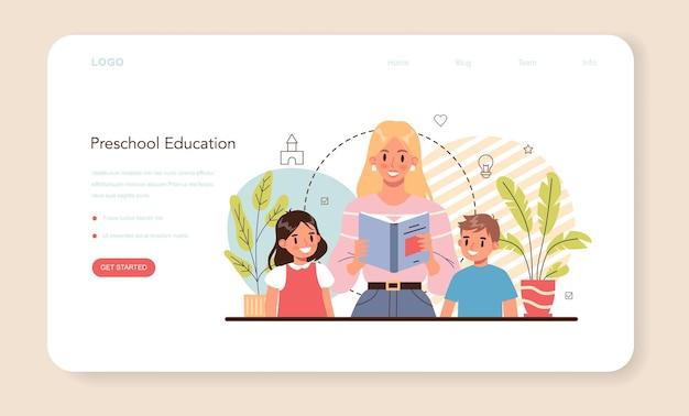 Kindergartener web banner or landing page professional nany and children