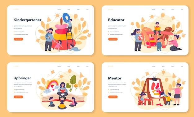 Kindergartener web banner or landing page set