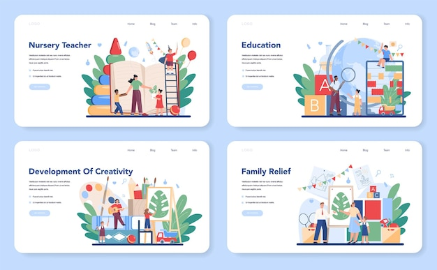 Kindergartener web layout or landing page set. professional nany and children doing different creative activity. cute kid play with toy. day care center, preschool education.