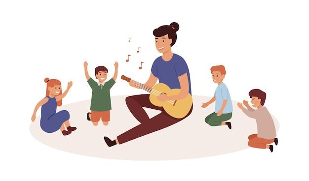 어린이 그룹 평면 벡터 일러스트와 함께 유치원입니다. 기타를 치는 보육교사. 음악 및 노래 레슨, 게임, 엔터테인먼트. 웃는 여자와 어린이 만화 캐릭터.