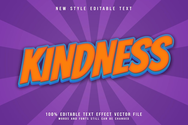Kindness editable text effect emboss comic style